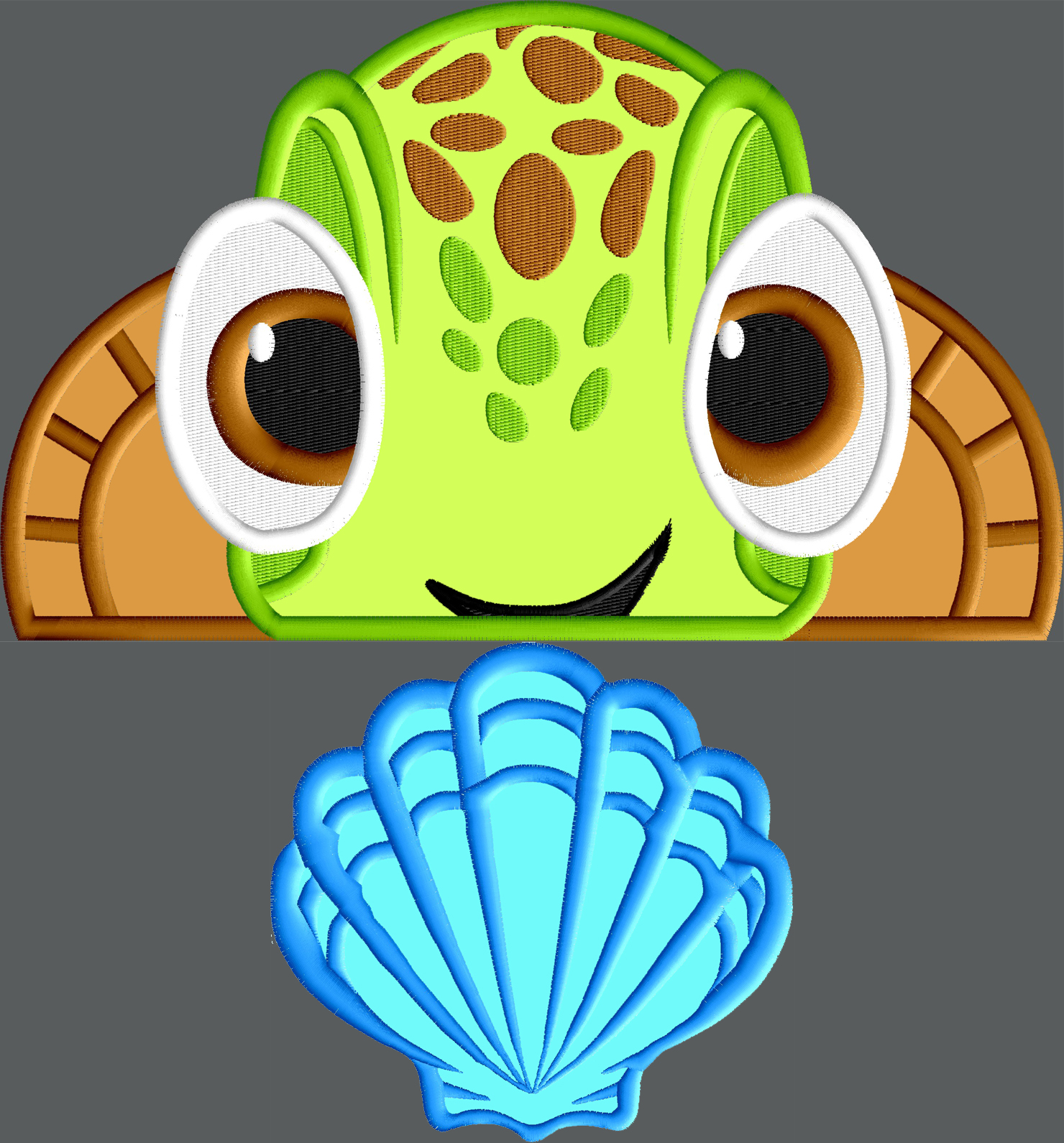 Friendly Turtle Peeker Applique Design With Sea Shell 2 Designs 3
