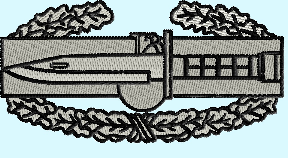 Combat Action Badge 3 Size Pack Logo Embroidery Design